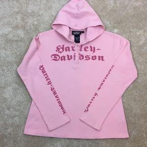 🏍 HARLEY DAVIDSON Pink THERMAL Shirt HOODIE Top